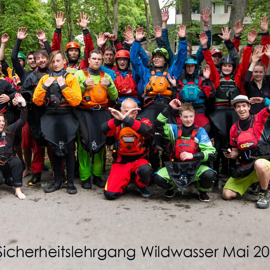 Die Teilnehmer des Sicherheitslehrgang Wildwasser 2019